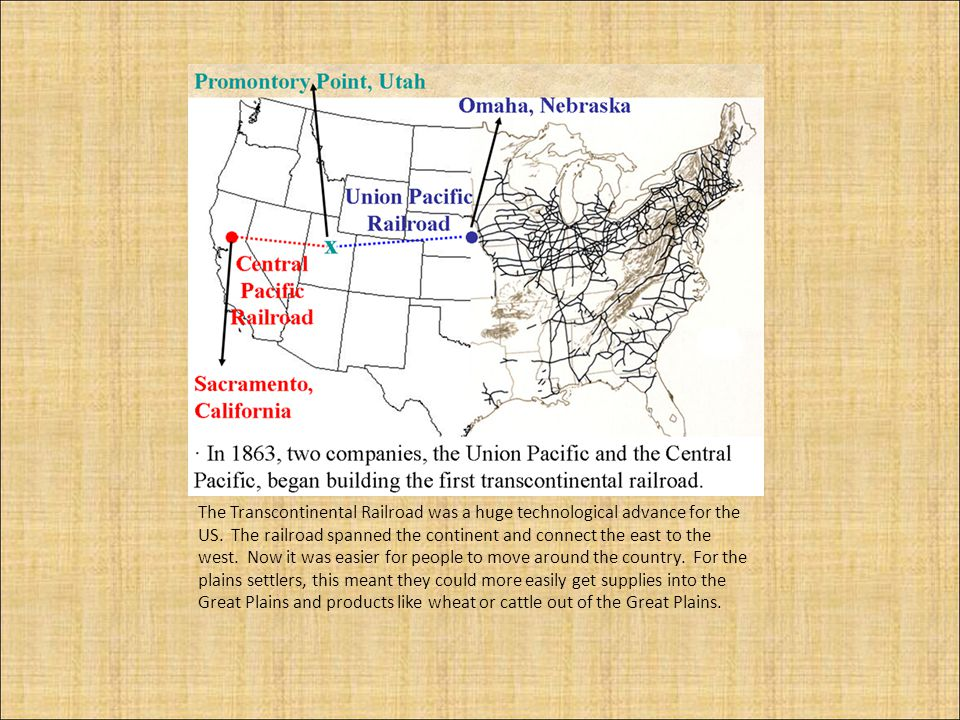 The Transcontinental Railroad was a huge technological advance for the US.
