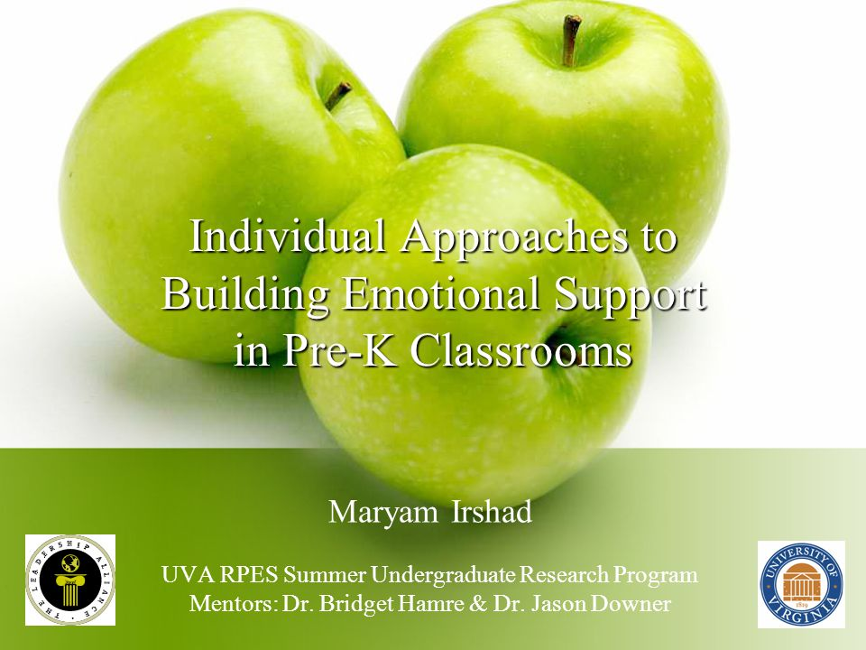 Individual Approaches to Building Emotional Support in Pre-K Classrooms Maryam Irshad UVA RPES Summer Undergraduate Research Program Mentors: Dr.