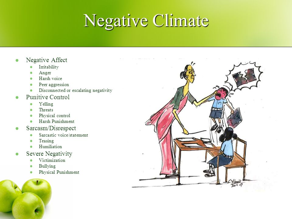 Negative Climate Negative Affect Irritability Anger Harsh voice Peer aggression Disconnected or escalating negativity Punitive Control Yelling Threats Physical control Harsh Punishment Sarcasm/Disrespect Sarcastic voice/statement Teasing Humiliation Severe Negativity Victimization Bullying Physical Punishment