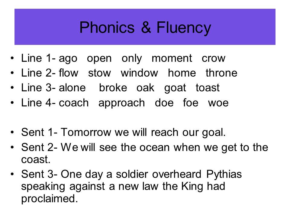 Phonics & Fluency Line 1- ago open only moment crow Line 2- flow stow window home throne Line 3- alone broke oak goat toast Line 4- coach approach doe