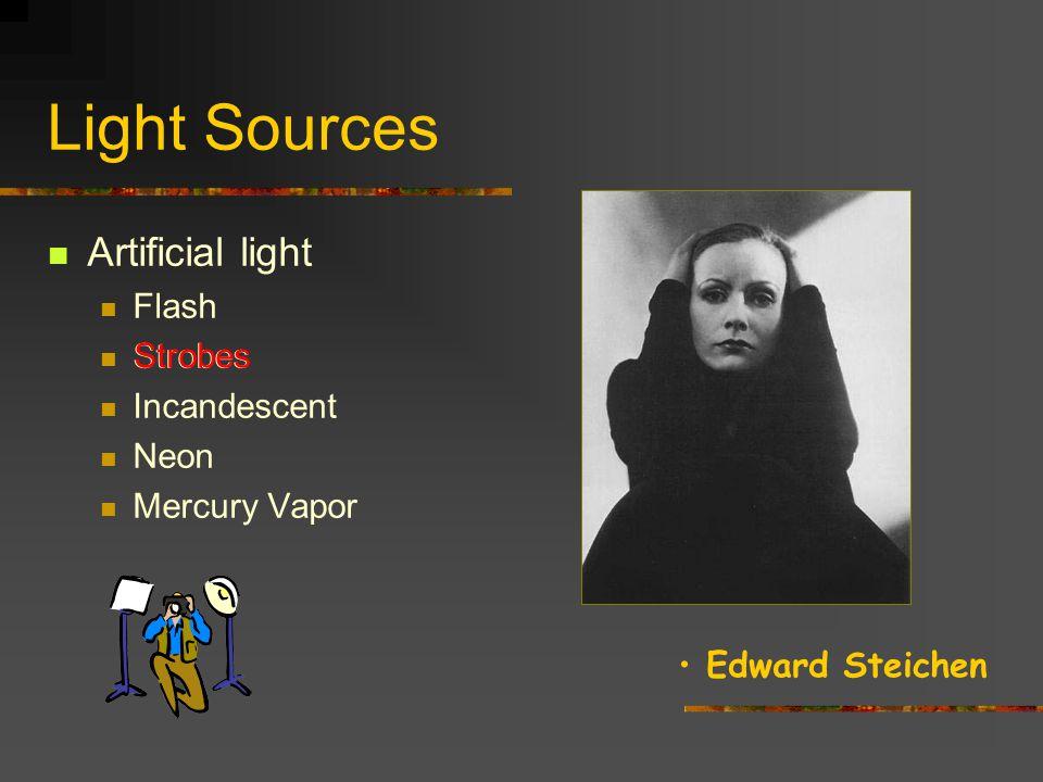Light Sources Artificial light Flash Strobes Incandescent Neon Mercury Vapor Strobes Irving Penn