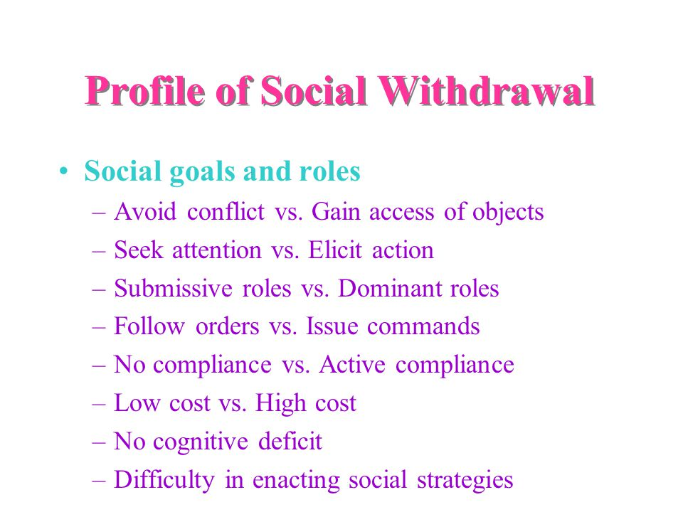Profile of Social Withdrawal Social goals and roles –Avoid conflict vs.