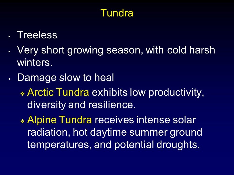 Tundra Treeless Very short growing season, with cold harsh winters. Damage slow to heal  Arctic Tundra exhibits low productivity, diversity and resil