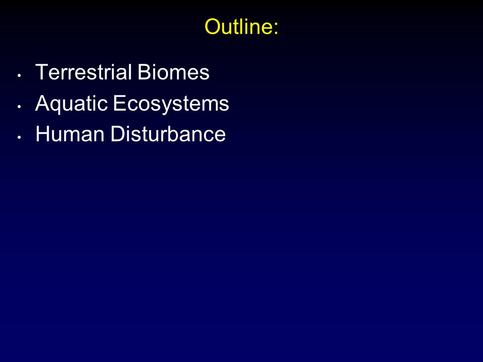 Summary: Terrestrial Biomes Aquatic Ecosystems Human Disturbance Landscape Ecology Restoration Ecology Ecosystem Management