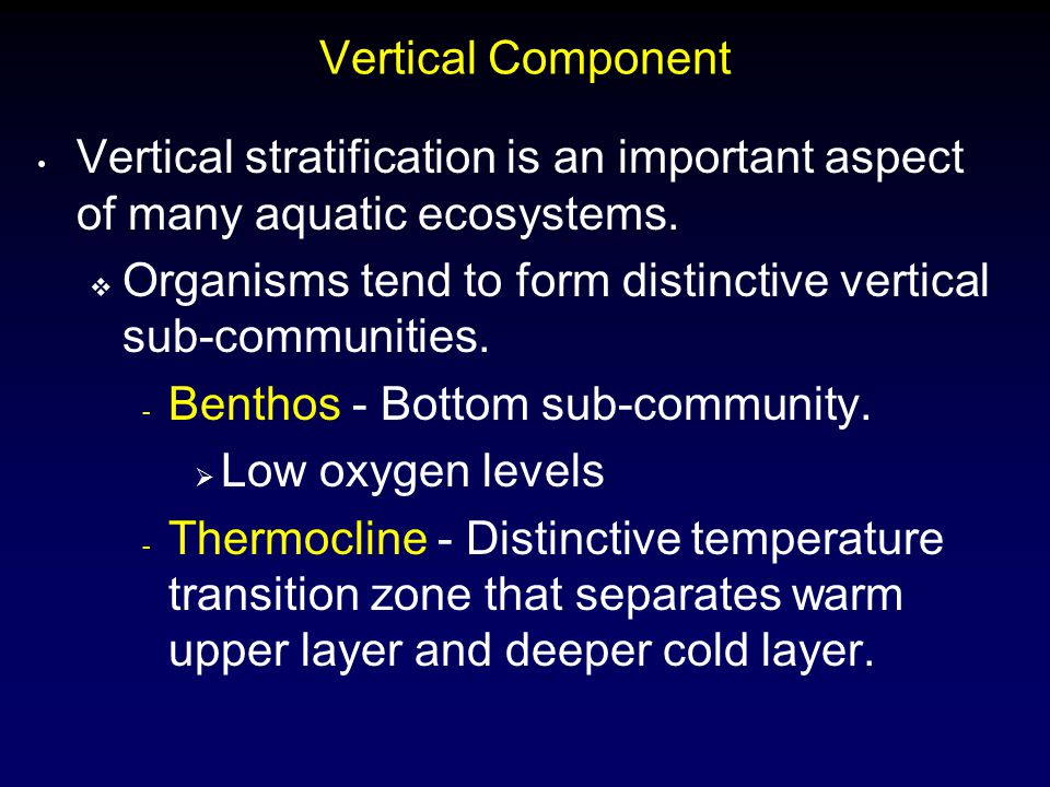 Vertical Component Vertical stratification is an important aspect of many aquatic ecosystems.  Organisms tend to form distinctive vertical sub-commun