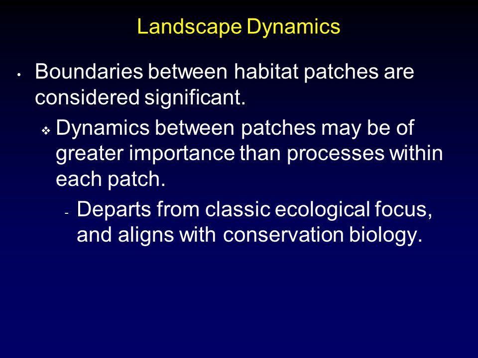 Landscape Dynamics Boundaries between habitat patches are considered significant.  Dynamics between patches may be of greater importance than process