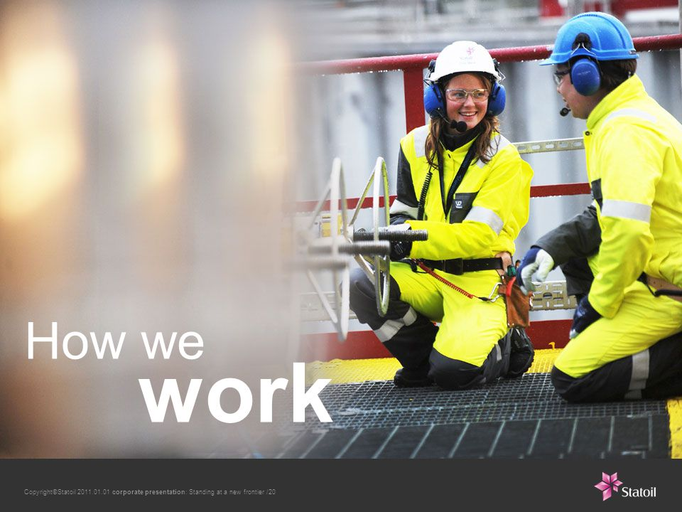 Copyright©Statoil 2011.01.01 corporate presentation: Standing at a new frontier /20 How we work
