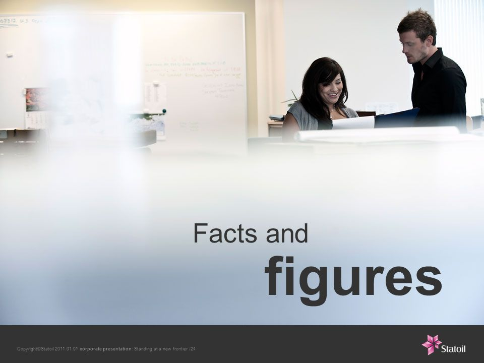 Copyright©Statoil 2011.01.01 corporate presentation: Standing at a new frontier /24 Facts and figures
