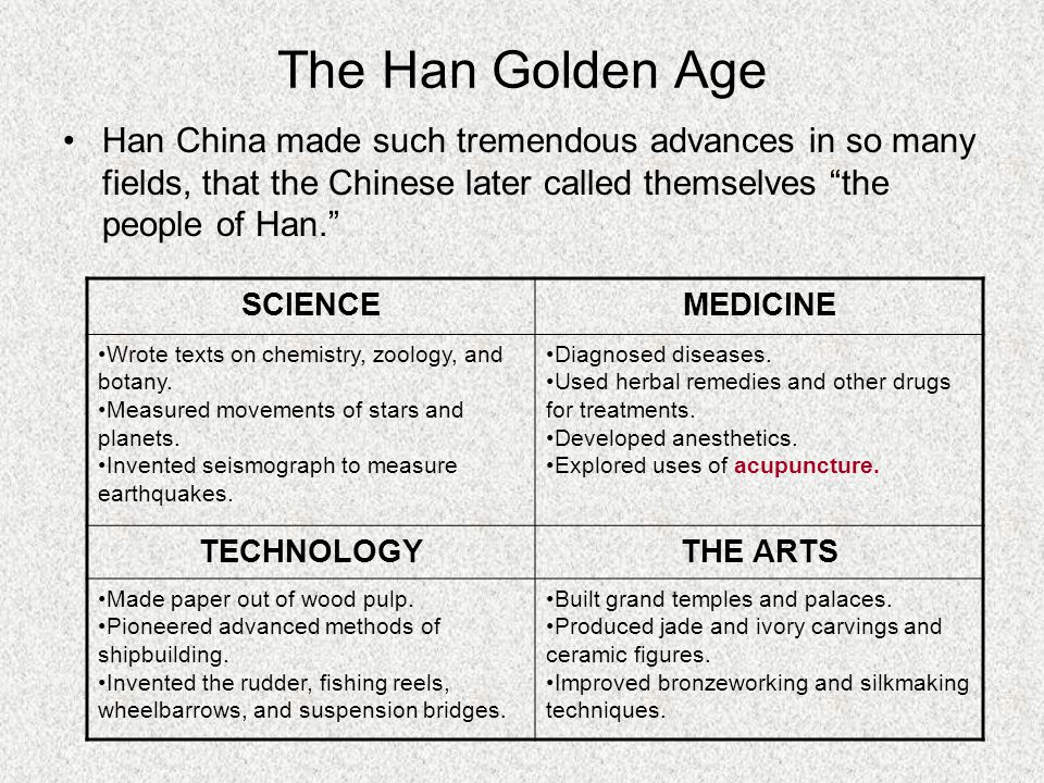 The Han Golden Age Han China made such tremendous advances in so many fields, that the Chinese later called themselves the people of Han. SCIENCEMEDICINE Wrote texts on chemistry, zoology, and botany.