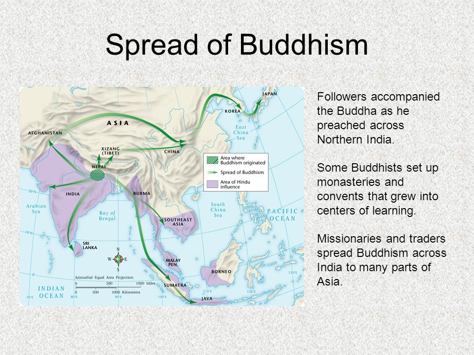Spread of Buddhism Followers accompanied the Buddha as he preached across Northern India.