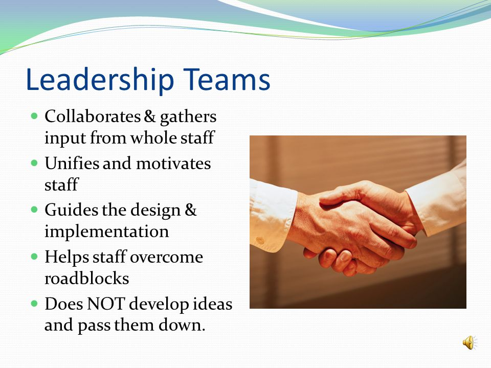 Component One Establish strong leadership team.