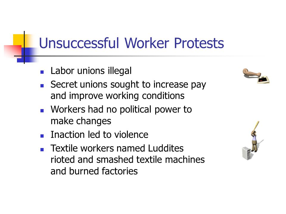 Unsuccessful Worker Protests Labor unions illegal Secret unions sought to increase pay and improve working conditions Workers had no political power to make changes Inaction led to violence Textile workers named Luddites rioted and smashed textile machines and burned factories