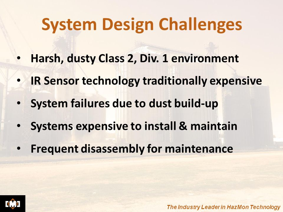 The Industry Leader in HazMon Technology System Design Challenges Harsh, dusty Class 2, Div. 1 environment IR Sensor technology traditionally expensiv