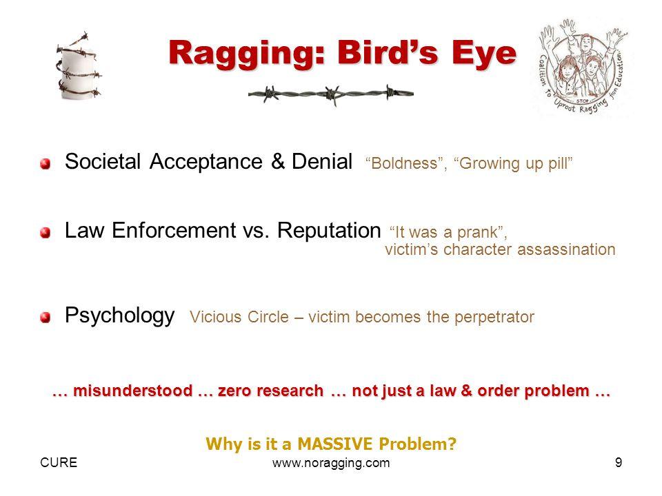 CUREwww.noragging.com9 Ragging: Bird's Eye Societal Acceptance & Denial Boldness , Growing up pill Law Enforcement vs.