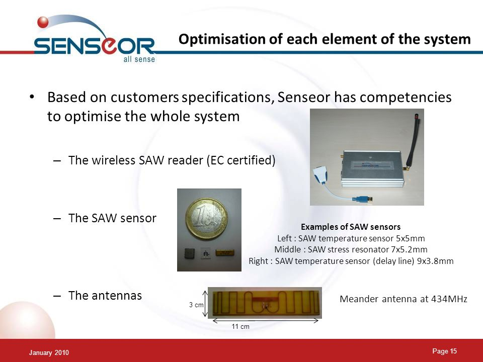 January 2010 Page 15 Optimisation of each element of the system Based on customers specifications, Senseor has competencies to optimise the whole system – The wireless SAW reader (EC certified) – The SAW sensor – The antennas Examples of SAW sensors Left : SAW temperature sensor 5x5mm Middle : SAW stress resonator 7x5.2mm Right : SAW temperature sensor (delay line) 9x3.8mm Meander antenna at 434MHz 3 cm 11 cm