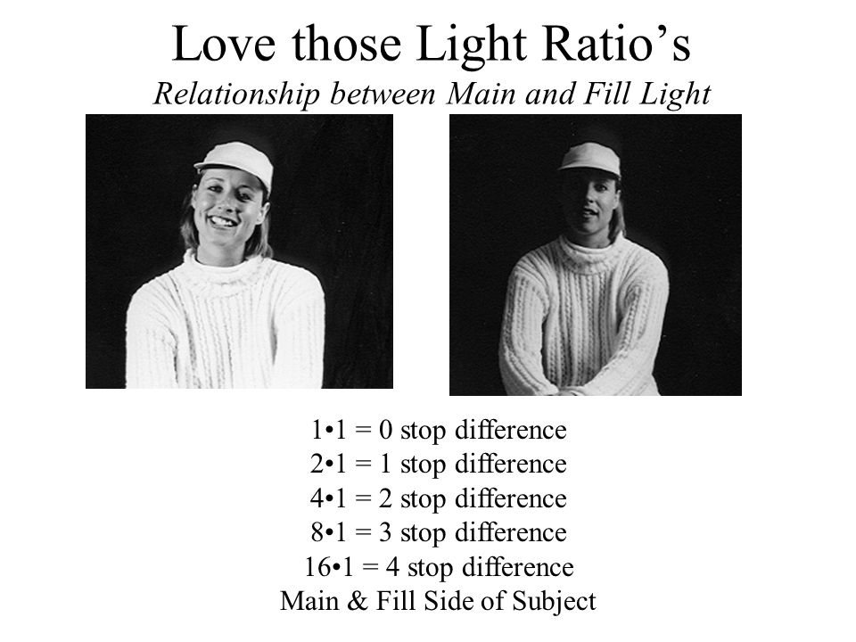 Love those Light Ratio's Relationship between Main and Fill Light 11 = 0 stop difference 21 = 1 stop difference 41 = 2 stop difference 81 = 3 stop dif