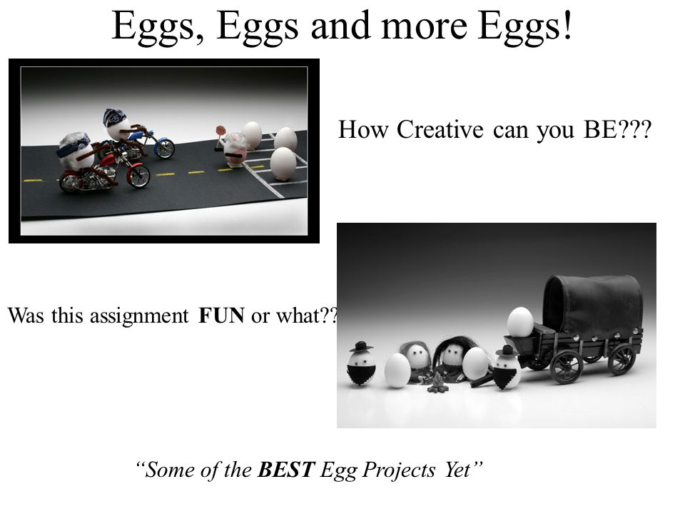 """Eggs, Eggs and more Eggs! Was this assignment FUN or what?? How Creative can you BE??? """"Some of the BEST Egg Projects Yet"""""""