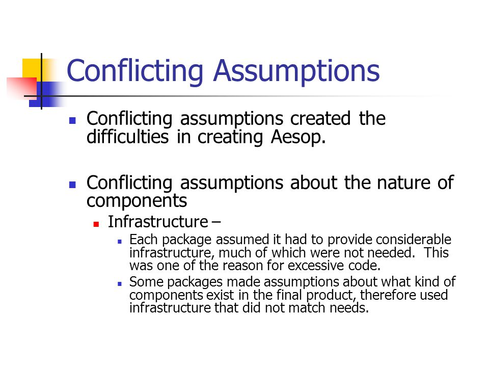 Conflicting Assumptions Conflicting assumptions created the difficulties in creating Aesop. Conflicting assumptions about the nature of components Inf