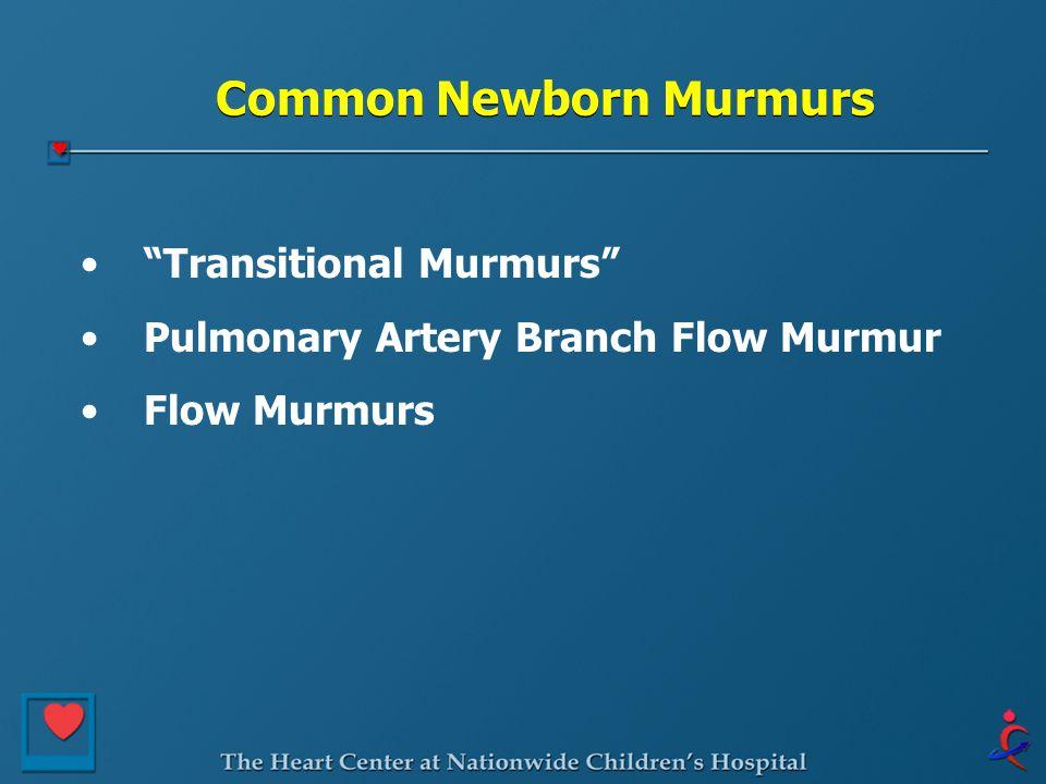 "Common Newborn Murmurs ""Transitional Murmurs"" Pulmonary Artery Branch Flow Murmur Flow Murmurs"