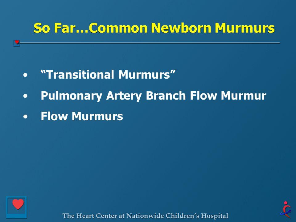 "So Far…Common Newborn Murmurs ""Transitional Murmurs"" Pulmonary Artery Branch Flow Murmur Flow Murmurs"