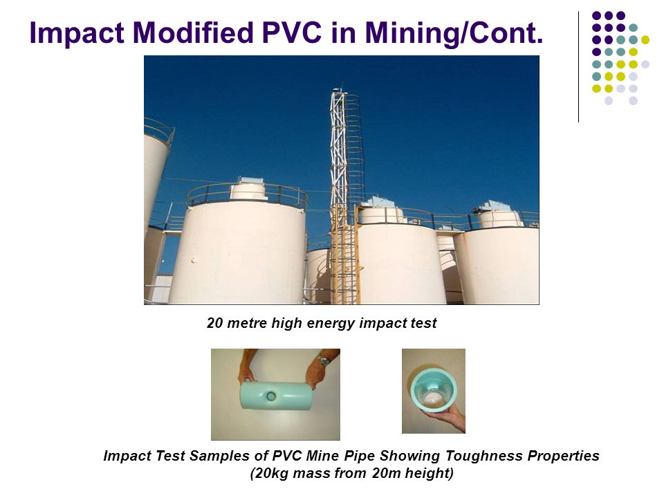 20 metre high energy impact test Impact Modified PVC in Mining/Cont.