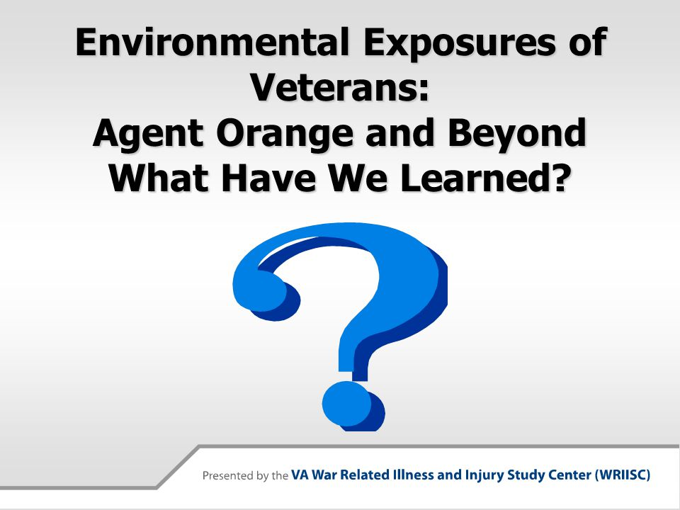 Top ten environmental exposures of concern: OEF/OIF 1.Smoke from burning trash or feces (44.6%)-7 2.Sand and dust storms (41.5%)-6 3.Gasoline, Jet Fuel, Diesel Fuel (21.1%)-2 4.Depleted Uranium (19.0%) 5.Paint, solvents, other petrochems (15.2%)-10 6.Oil well fire smoke (14.9%)-3 7.Contaminated food and water (14.4%)-4 8.Anthrax Vaccine (14.2%) 9.Multiple Vaccinations (13.9%) [8+9>3] 10.Vehicular Exhaust (10.3%) Seen at NJ WRIISC, n=612.