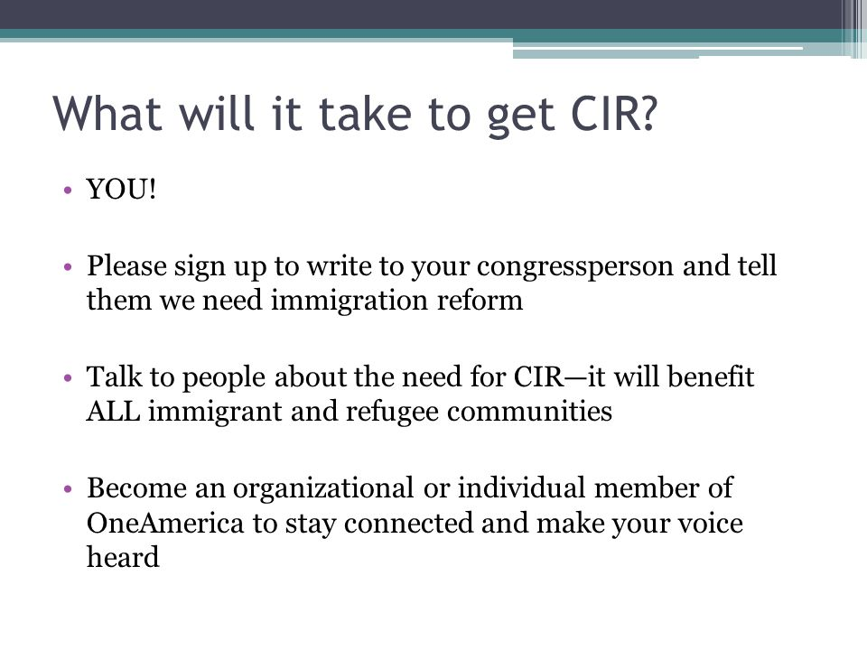 What will it take to get CIR. YOU.