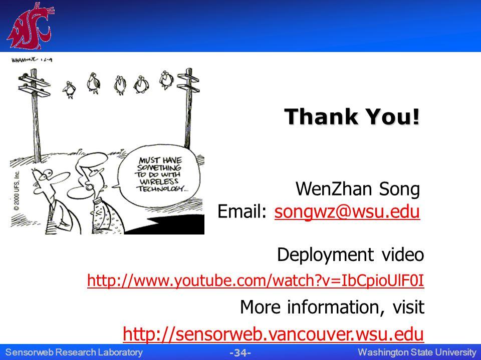 -34- Washington State UniversitySensorweb Research Laboratory Thank You! Thank You! WenZhan Song Email: songwz@wsu.edusongwz@wsu.edu Deployment video