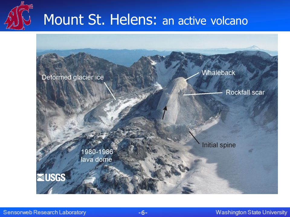 -6- Washington State UniversitySensorweb Research Laboratory Mount St. Helens: an active volcano