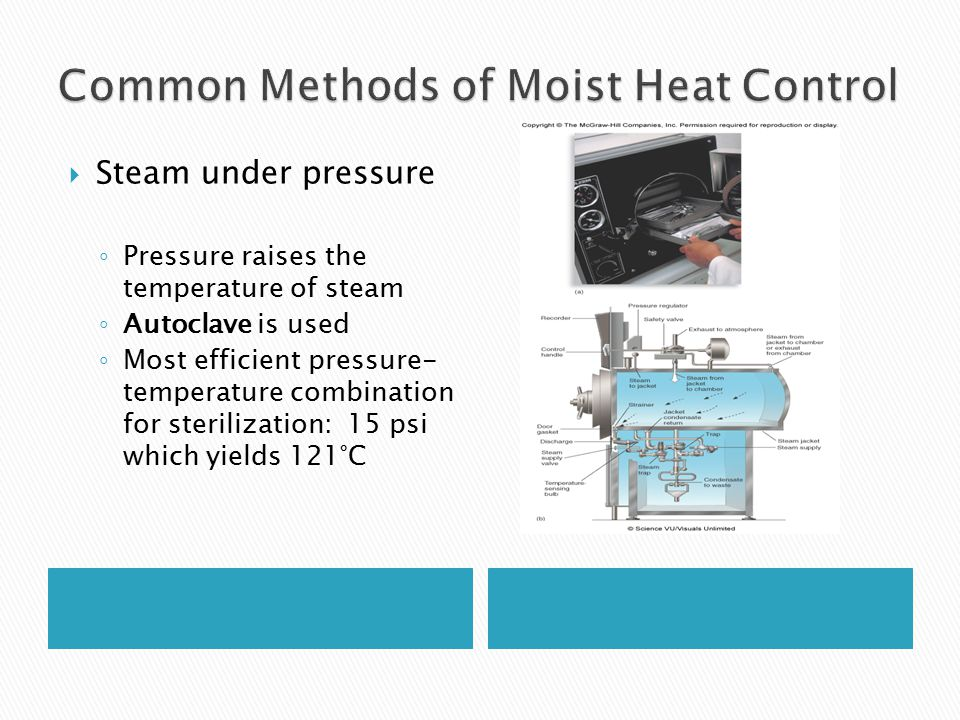  Steam under pressure ◦ Pressure raises the temperature of steam ◦ Autoclave is used ◦ Most efficient pressure- temperature combination for sterilization: 15 psi which yields 121°C