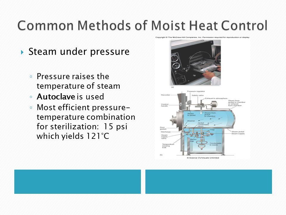 Steam under pressure ◦ Pressure raises the temperature of steam ◦ Autoclave is used ◦ Most efficient pressure- temperature combination for sterilization: 15 psi which yields 121°C