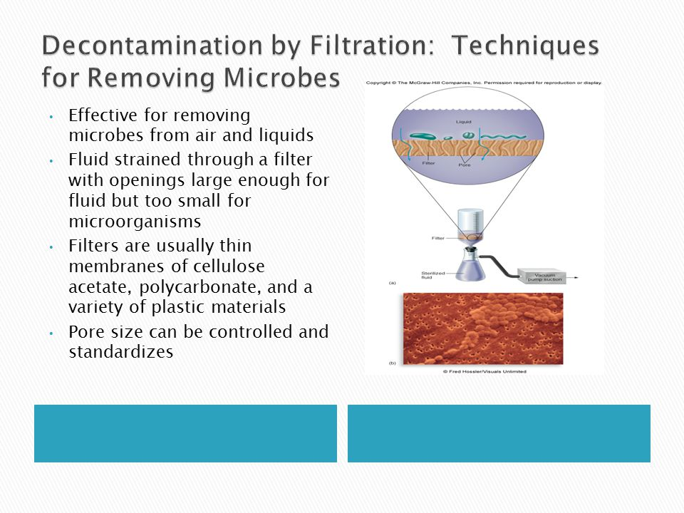 Effective for removing microbes from air and liquids Fluid strained through a filter with openings large enough for fluid but too small for microorganisms Filters are usually thin membranes of cellulose acetate, polycarbonate, and a variety of plastic materials Pore size can be controlled and standardizes
