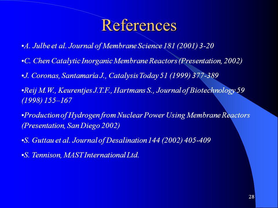 28 References A. Julbe et al. Journal of Membrane Science 181 (2001) 3-20 C. Chen Catalytic Inorganic Membrane Reactors (Presentation, 2002) J. Corona