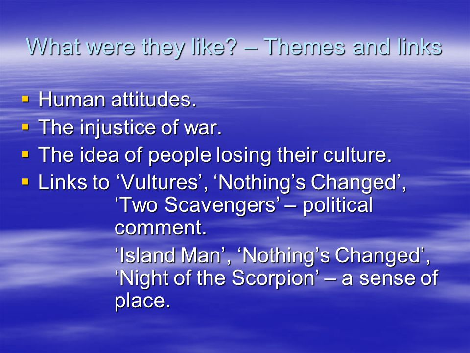 What Were They Like?  Written in the style of an interview, with six questions being asked about the people of Vietnam and how they used to live.  A