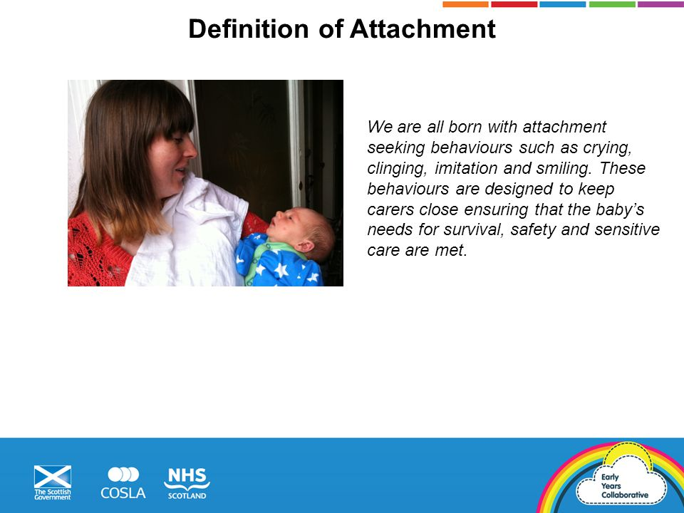 Definition of Attachment We are all born with attachment seeking behaviours such as crying, clinging, imitation and smiling.