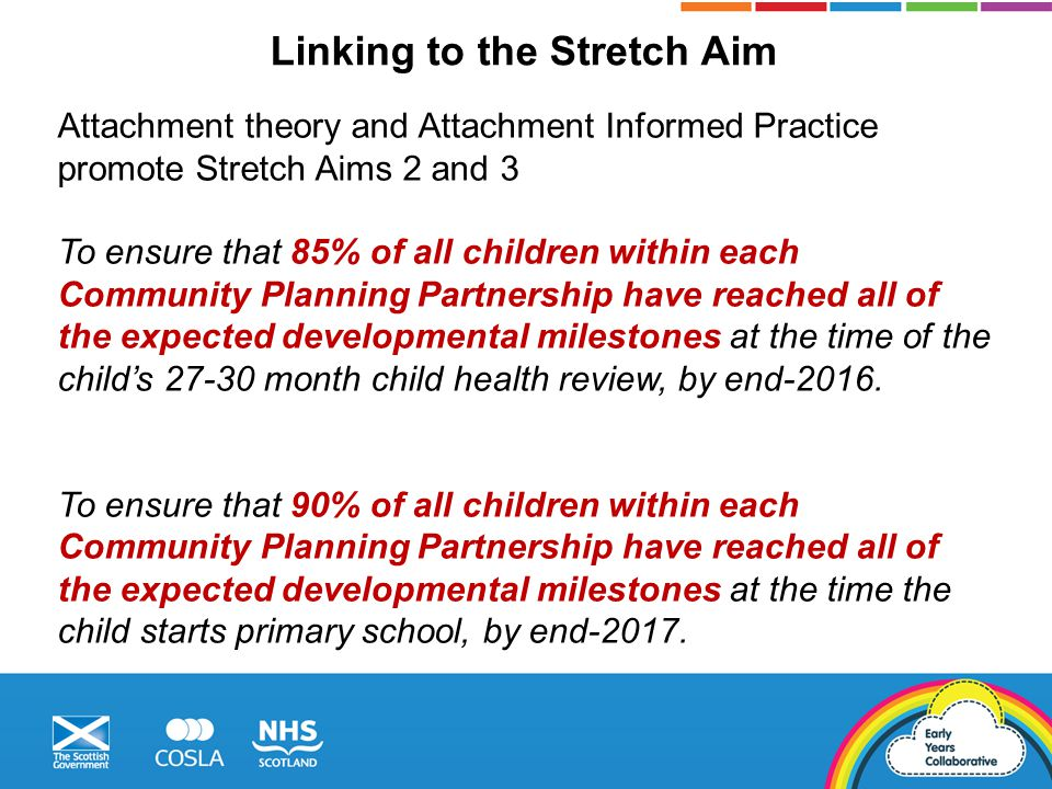 Attachment theory and Attachment Informed Practice promote Stretch Aims 2 and 3 To ensure that 85% of all children within each Community Planning Partnership have reached all of the expected developmental milestones at the time of the child's 27-30 month child health review, by end-2016.
