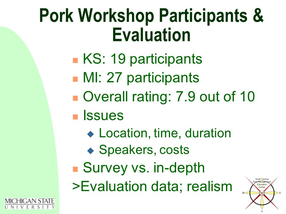 Pork Workshop Participants & Evaluation KS: 19 participants MI: 27 participants Overall rating: 7.9 out of 10 Issues  Location, time, duration  Speakers, costs Survey vs.
