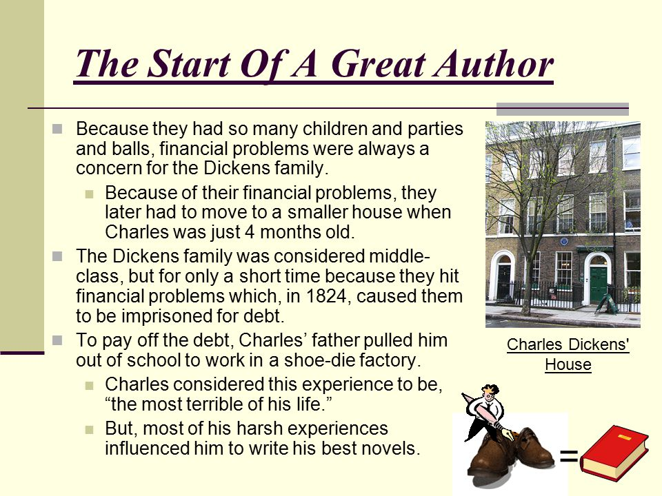 The Start Of A Great Author Charles Dickens' House Because they had so many children and parties and balls, financial problems were always a concern f
