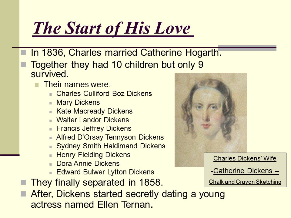 The Start of His Love of Writing In 1836, Charles married Catherine Hogarth. Together they had 10 children but only 9 survived. Their names were: Char