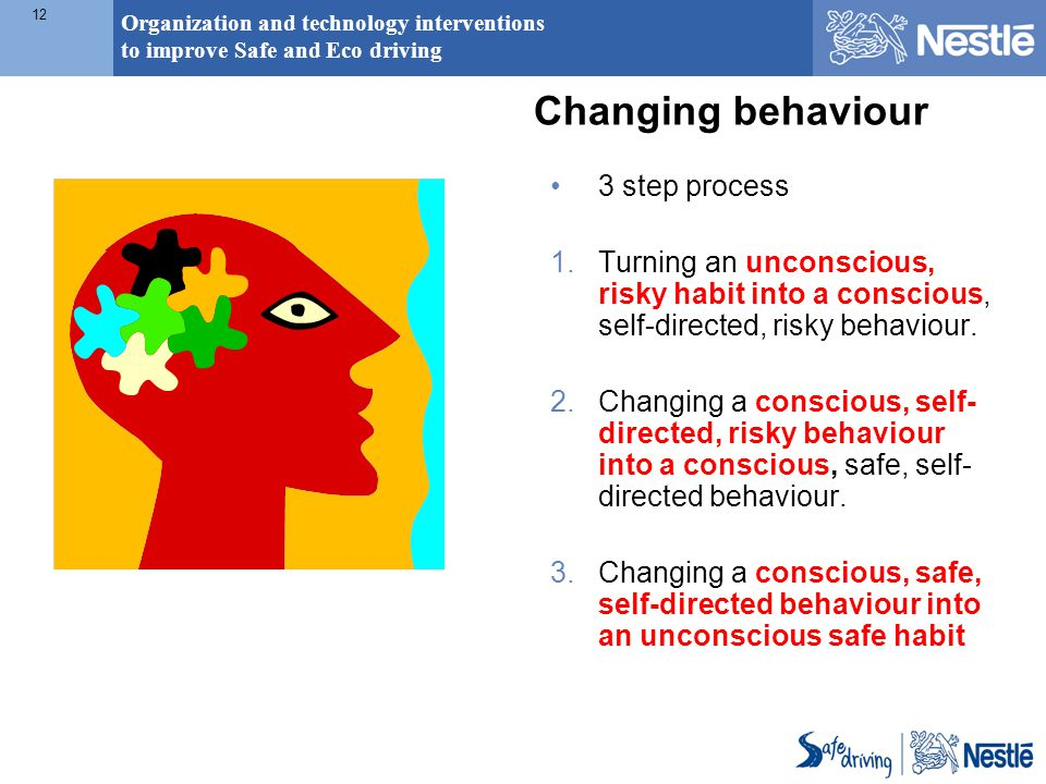 Organization and technology interventions to improve Safe and Eco driving 12 Changing behaviour 3 step process 1.Turning an unconscious, risky habit into a conscious, self-directed, risky behaviour.