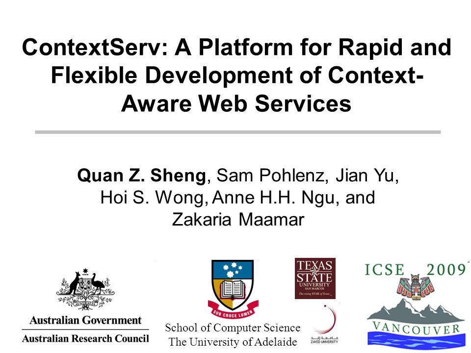 1/24 21/05/2009ContextServ at ICSE 2009 ContextServ: A Platform for Rapid and Flexible Development of Context- Aware Web Services Quan Z. Sheng, Sam P