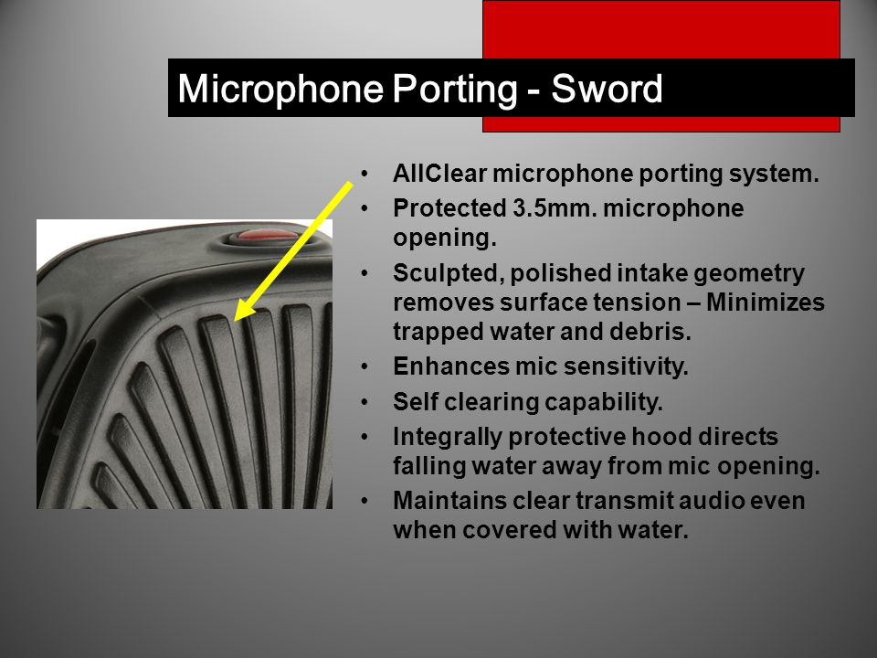 AllClear microphone porting system. Protected 3.5mm.