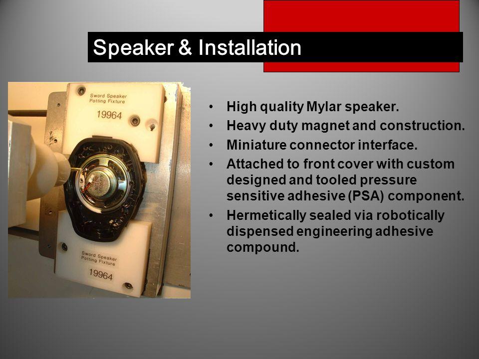 Speaker & Installation High quality Mylar speaker.