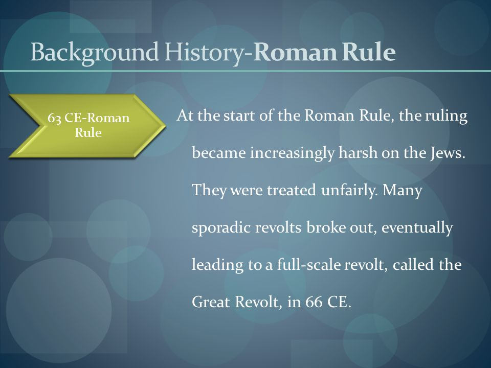 Background History-The Great Revolt The Great revolt broke out as a result of the increasingly harsh and unfair laws which were set upon the Jews.