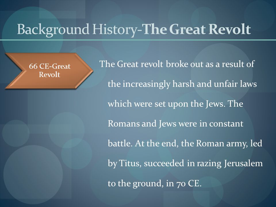 Background History-The Destruction Ending The Great Revolt, The Romans, led by Titus, conquered Jerusalem and succeeded in destroying the Temple.