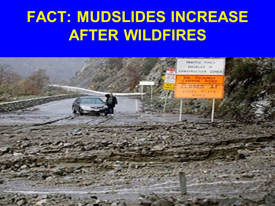FACT: MUDSLIDES INCREASE AFTER WILDFIRES