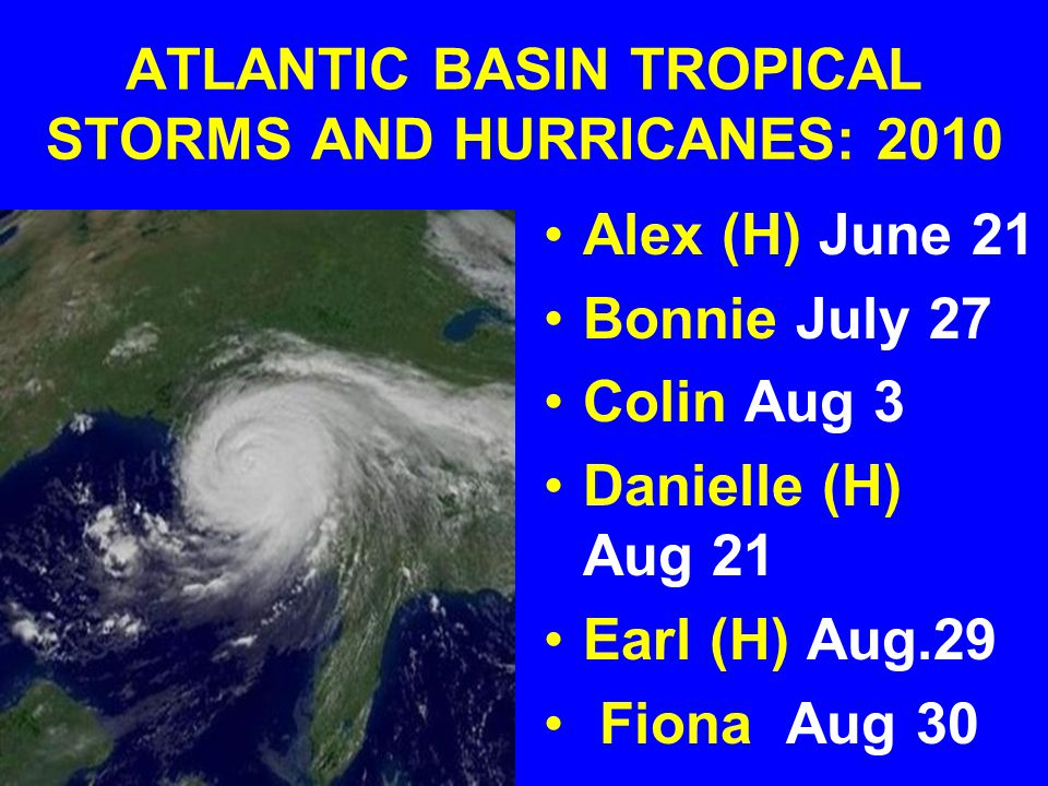 ATLANTIC BASIN TROPICAL STORMS AND HURRICANES: 2010 Alex (H) June 21 Bonnie July 27 Colin Aug 3 Danielle (H) Aug 21 Earl (H) Aug.29 Fiona Aug 30