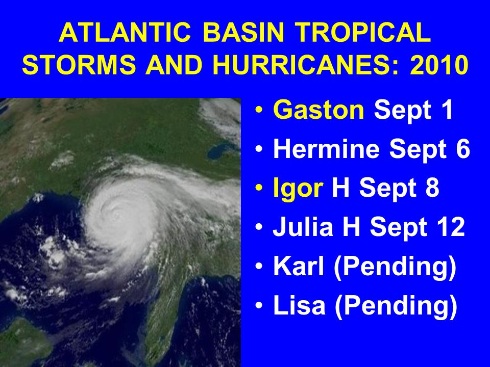 ATLANTIC BASIN TROPICAL STORMS AND HURRICANES: 2010 Gaston Sept 1 Hermine Sept 6 Igor H Sept 8 Julia H Sept 12 Karl (Pending) Lisa (Pending)