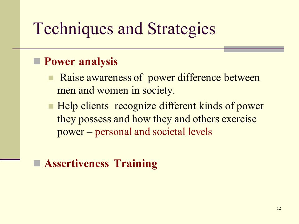 Techniques and Strategies Power analysis Raise awareness of power difference between men and women in society.