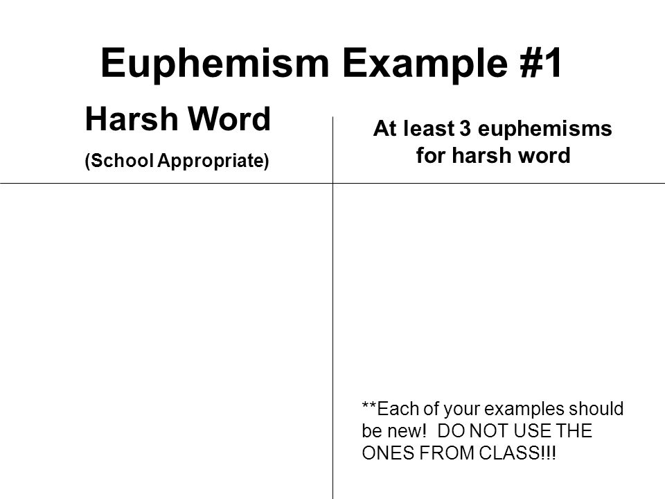 Euphemism Example #1 Harsh Word (School Appropriate) At least 3 euphemisms for harsh word **Each of your examples should be new.